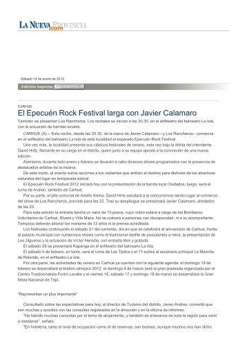 El Epecuén Rock Festival larga con Javier Calamaro - La Nueva ...