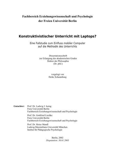 Heike Schaumburg Konstruktivistischer Unterricht Mit Laptops