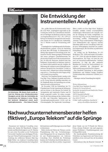 Die Entwicklung der Instrumentellen Analytik ... - TU Clausthal