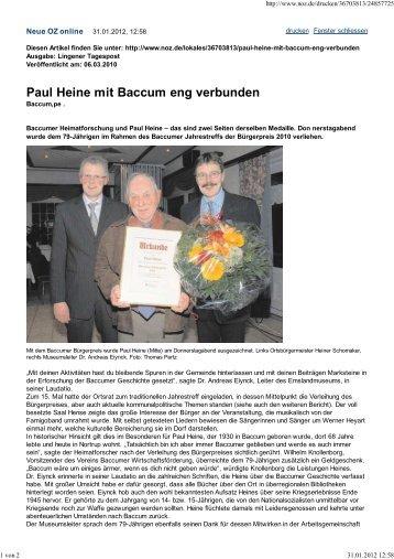 Paul Heine mit Baccum eng verbunden - Baccumer ...