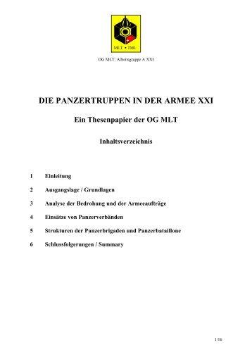 DIE PANZERTRUPPEN IN DER ARMEE XXI - OG Panzer