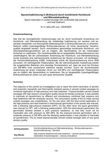 Sporeninaktivierung in Brühwurst durch kombinierte Hochdruck ...