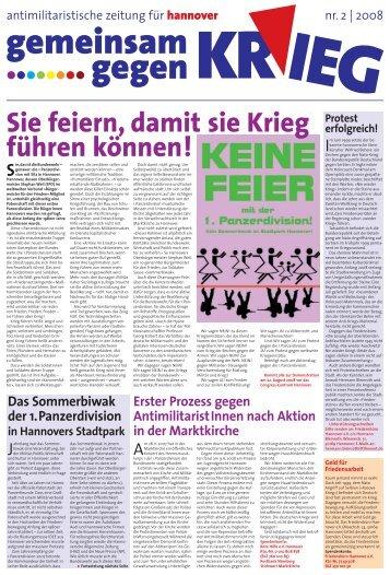 Zeitung gegen Krieg Nr. 2/2008 - antimilitarismus - Blogsport