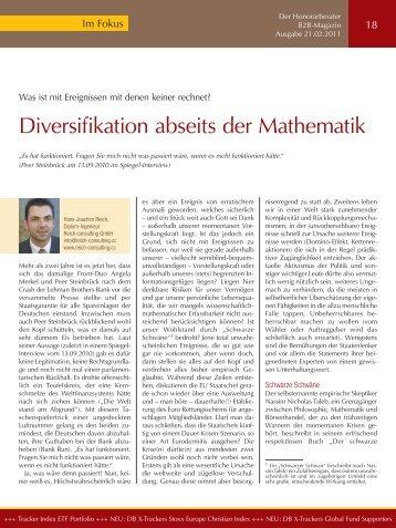 Diversifikation abseits der Mathematik. Wie schützt man sich vor ...