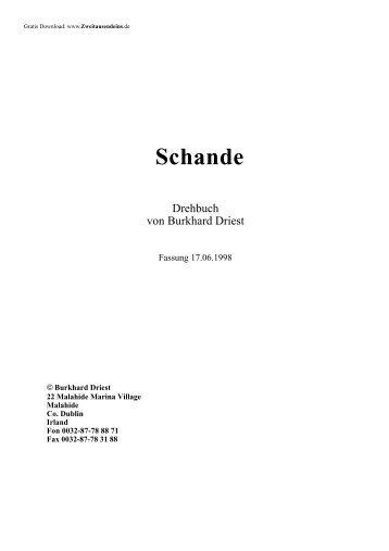 """Drehbuch """"Schande"""""""