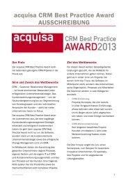 Ausschreibung zum acquisa CRM Best Practice Award ... - Haufe.de