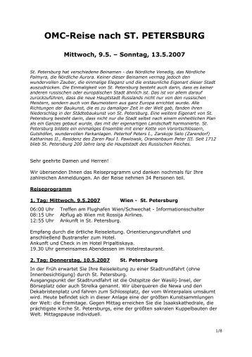 OMC-Reise nach ST. PETERSBURG - OMC Portal