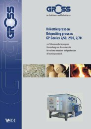 Brikettierpressen Briquetting presses GP Genius 2/50, 2/60, 2/70