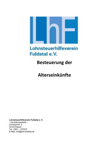 Besteuerung der Alterseinkünfte - Lohnsteuerhilfeverein Fuldatal e. V.