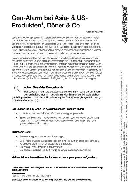 Gen-Alarm-Liste Asia-Produkte 31.1.2012 - Greenpeace