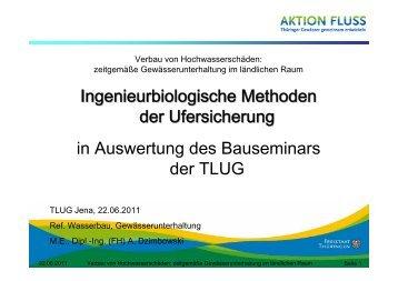 Ingenieurbiologische Methoden der Ufersicherung in Auswertung ...