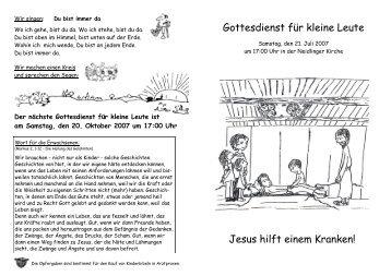 Gottesdienst für kleine Leute Jesus hilft einem Kranken!