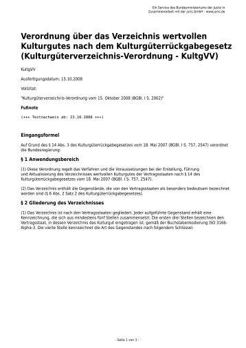 Kulturgüterverzeichnis-Verordnung - Gesetze im Internet