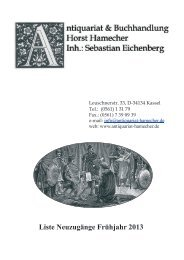 Liste Neuzugänge Frühjahr 2013 - Antiquariat Horst Hamecher