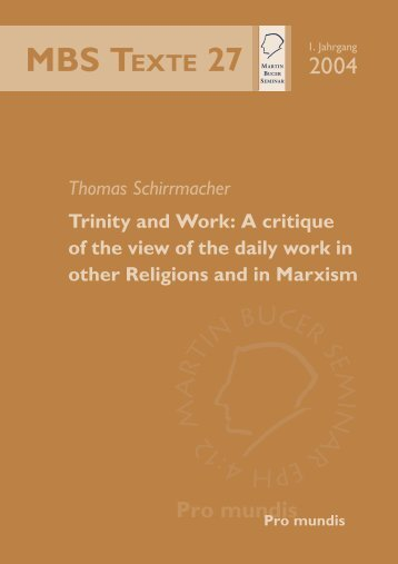 Trinity and Work - Martin Bucer Seminar