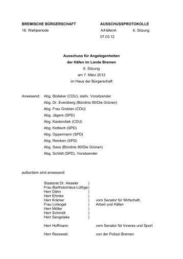 Protokoll der 6. Sitzung am 7. März 2012 - Hafenausschuss ...