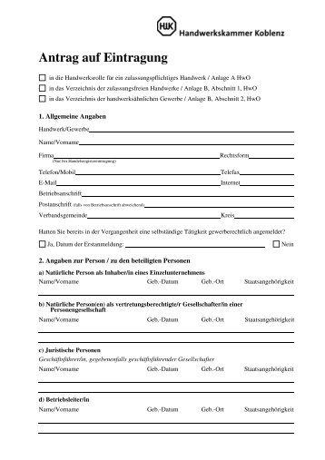 Antrag auf Eintragung - Verbandsgemeinde Cochem
