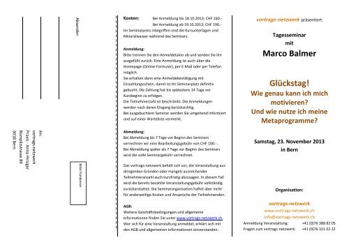 Marco Balmer Glückstag! - Vortrags Netzwerk
