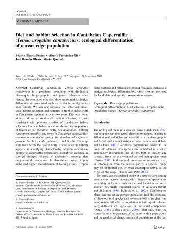 Diet and habitat selection in Cantabrian Capercaillie (Tetrao ...