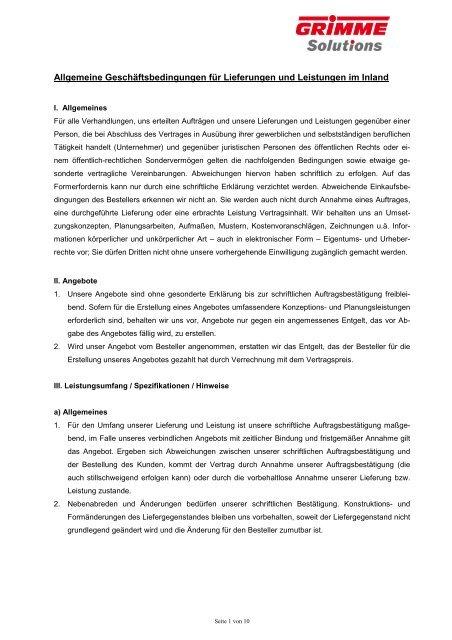 Allgemeine Geschäftsbedingungen für Lieferungen und Leistungen ...