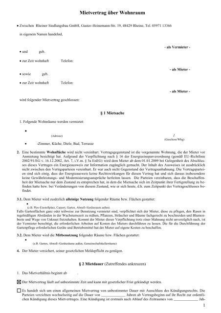 Mietvertrag über Wohnraum Rheiner Siedlungsbau Gmbh