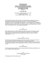Promotionsordnung des Fachbereichs Rechts - Johannes ...