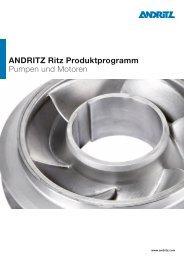 ANDRITZ Ritz Produktprogramm Pumpen und Motoren