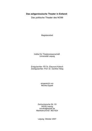 Das zeitgenössische Theater in Estland: Das ... - Teater NO99