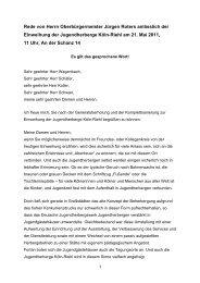 Rede von Herrn Oberbürgermeister Jürgen Roters ... - Stadt Köln
