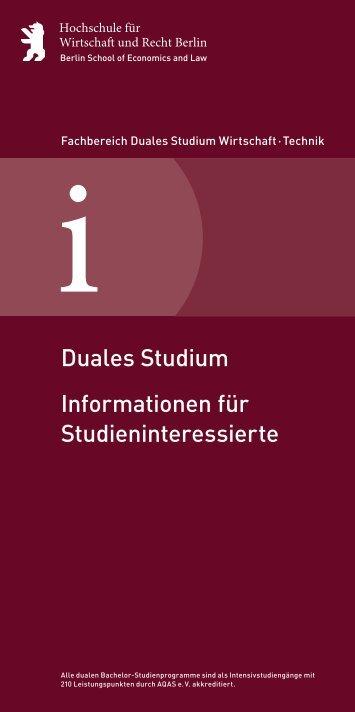 Informationsblatt für Studieninteressierte - Hochschule für Wirtschaft ...