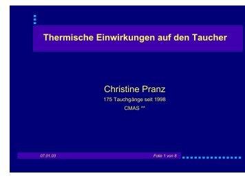 Thermische Einwirkungen auf den Taucher Christine Pranz