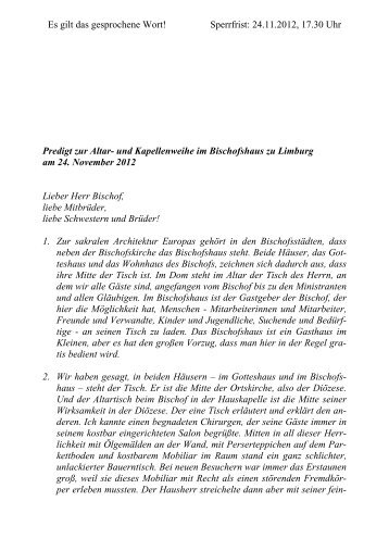 Predigt Kardinal Meisner Altar-Kapellenweihe ... - Bistum Limburg