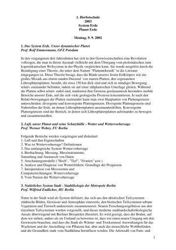 1 1. Herbstschule 2003 System Erde Planet Erde Montag, 9 ... - DMG