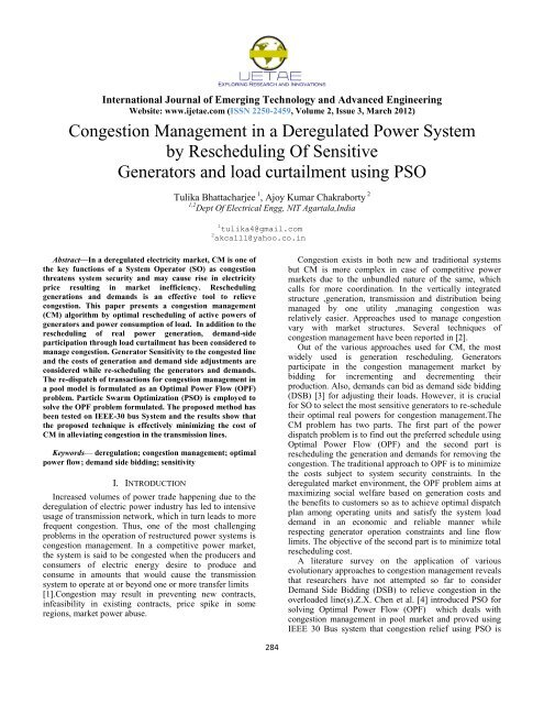 Congestion Management in a Deregulated Power System ... - IJETAE