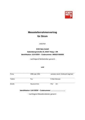 Messstellenrahmenvertrag für Strom - Kraftwerke Haag