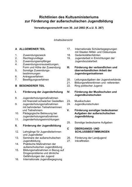 Richtlinien des Kultusministeriums zur Förderung der ...