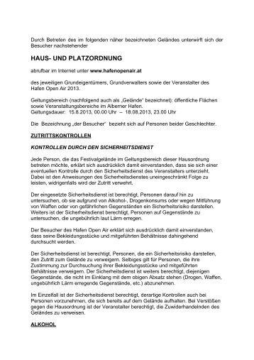 Haus- und Platzordnung anzeigen (pdf) - Hafen Open Air