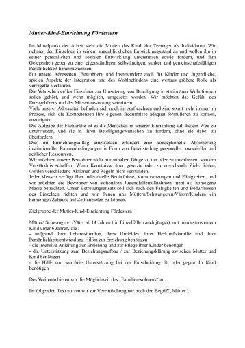 Konzeption Mutter-Kind-Einrichtung - Fördestern GmbH