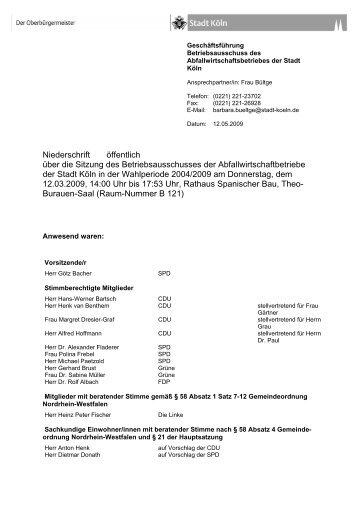 Niederschrift der Sitzung am 12. März 2009 - Stadt Köln