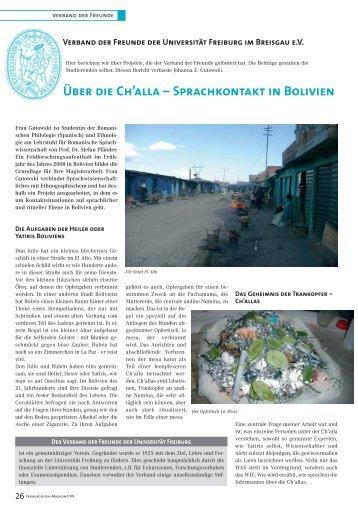Über die Ch'alla – Sprachkontakt in Bolivien - Verband der Freunde ...