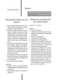 Ökologische Funktionen von Hecken Bedeutung von Hecken für die ...