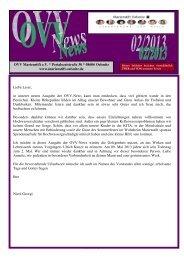 01/03 Liebe Leser, in unserer neuen Ausgabe der OVV-News kann ...