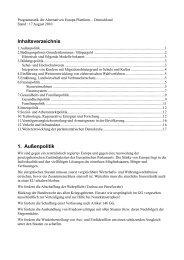 Inhaltsverzeichnis 1. Außenpolitik - Alternative Europa Plattform