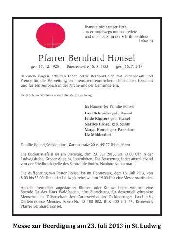 Liedzettel zur Beerdigung von Bernhard Honsel - Heilig Kreuz