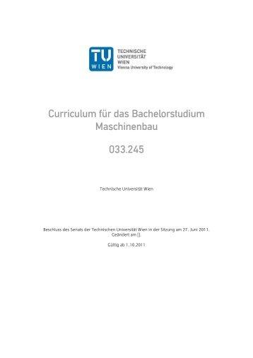 Curriculum für das Bachelorstudium Maschinenbau 033.245