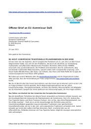 Offener Brief an EU-Kommissar Dalli - the Alliance for Natural Health