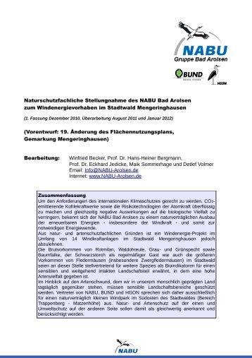 Naturschutzfachliche Stellungnahme des NABU Bad Arolsen zum ...