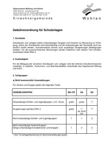 Gebührenordnung für Schulanlagen