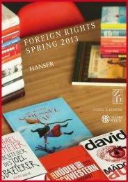 FOREIGN RIGHTS SPRING 2013 - Hanser Literaturverlage