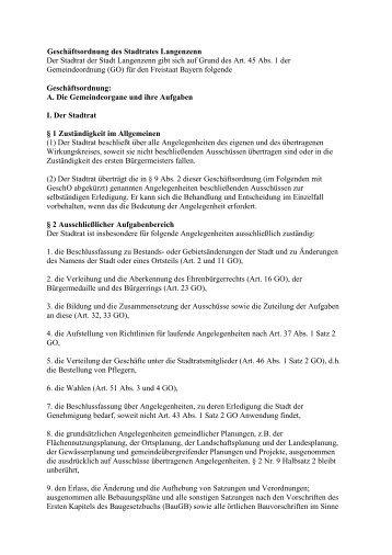Geschäftsordnung des Stadtrates Langenzenn Der Stadtrat der ...